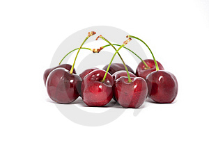 Red Cherries With Stems Royalty Free Stock Photography - Image: 20589337