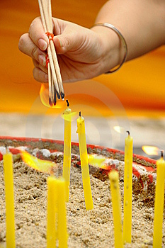 Hand With Incense Stock Image - Image: 20589501
