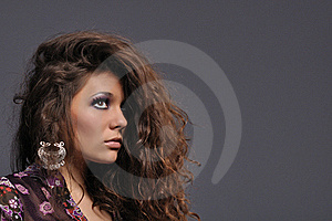 Sexy Brunette Girl With Oriental Earrings Stock Photos - Image: 20592443