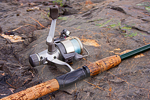 Spinning Reel And Rod Royalty Free Stock Image - Image: 20593486