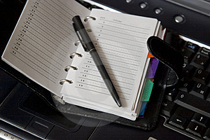 Agenda On Laptop Keyboard Stock Photos - Image: 2065073
