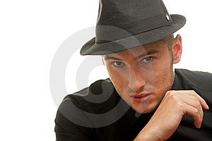 Gangster In A Hat Isolatted On White Stock Photo - Image: 20611450