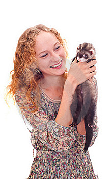 Girl With The Ferret Stock Images - Image: 20620074