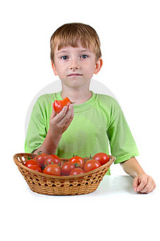 Boy With Tomatoes Stock Image - Image: 20620371