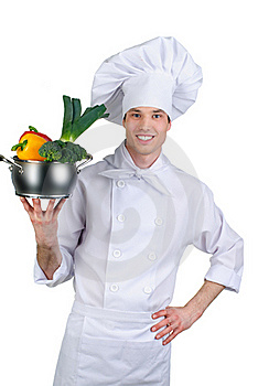Cook Holding Pan With Vegetables Stock Photo - Image: 20623870
