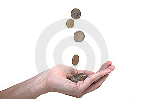 Cents Falling In A Hand Royalty Free Stock Photography - Image: 20627367
