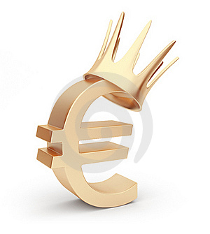 Golden Euro Currency 3D. Symbol. Isolated On White Stock Image - Image: 20629171