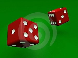 Rolling Dice On Green Background Royalty Free Stock Images - Image: 20634829