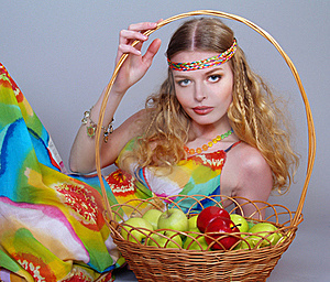 Young Woman With A Basket Of Apples Stock Photography - Image: 20634862