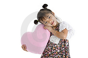 Girl With Heart Shaped Pillow Stock Photography - Image: 20634942
