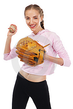 Beautiful Woman With Baseball Equipment Royalty Free Stock Image - Image: 20635046