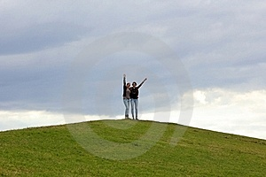 Together / On Top Of Green Hill Royalty Free Stock Images - Image: 20638549