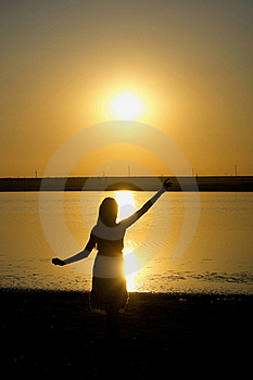 Silhouette Of The Dancing Girl Royalty Free Stock Image - Image: 20644046