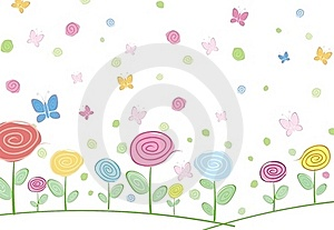Abstract Floral Card With Butterfly Stock Image - Image: 20645151