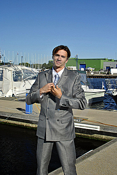 Man In A Gray Business Suit Straightens His Tie Stock Photos - Image: 20645873