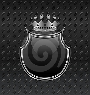 Heraldic Shield And Crown On Metallic Background Royalty Free Stock Photography - Image: 20647097