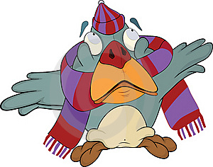 Sparrow In A Cap And A Scarf. Cartoon Royalty Free Stock Image - Image: 20650746