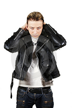 Young Depressed Man In Black Leather Royalty Free Stock Photos - Image: 20656568