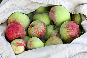 Bag Of Red-Green Apples In Summer Royalty Free Stock Photography - Image: 20657917