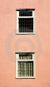 Windows On A Pink Wall Royalty Free Stock Photo - Image: 20660585