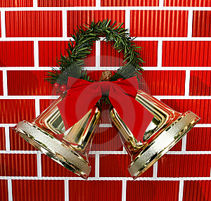 Gold Christmas Holiday Bells With Red Bow Royalty Free Stock Photo - Image: 20663285