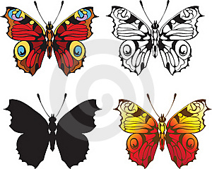 Set Of Decorative Butterflies Royalty Free Stock Image - Image: 20664846