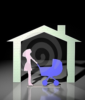 Home And Women With Buggy Stock Photography - Image: 20684102