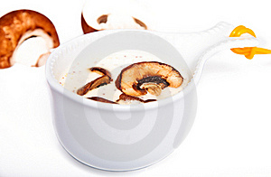 Mushrooms Sauce In A White Gravy Boat Royalty Free Stock Photography - Image: 20686227