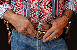 Cowboy Waits His Turn Stock Photography - Image: 2070902