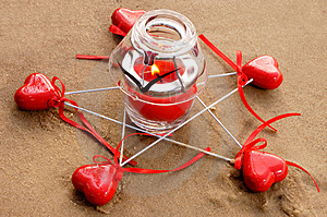 Hearts And Candle Stock Image - Image: 2076751