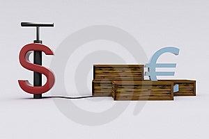 Dollar Detonating The Euro Stock Image - Image: 20715011
