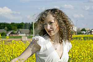 Curly Girl On Nature Stock Photo - Image: 20720530