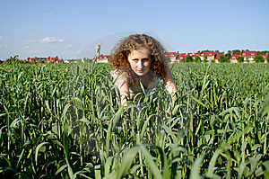 Curly Girl On Nature Royalty Free Stock Images - Image: 20720709