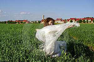 Curly Girl Dancing On Nature Stock Images - Image: 20720744