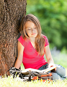 Happy Student Girl Reading Book Royalty Free Stock Images - Image: 20733979
