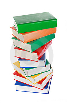 Stack Of Colorful Books Isolated On White Royalty Free Stock Photos - Image: 20744518