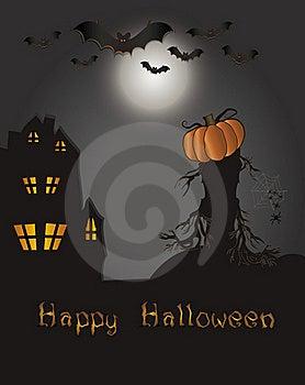 Halloween Happy Card - Bat Pumpkin Spider Web Hous Stock Photos - Image: 20757343