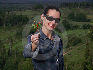 The Beautiful  Woman  With Wild Strawberry Berries Stock Photography - Image: 20766432
