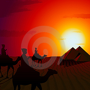 Sunset In Desert Stock Photo - Image: 20768430