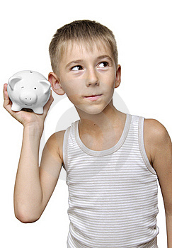 Child With His Piggy-bank Royalty Free Stock Photo - Image: 20779875