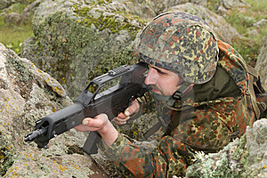 Soldier Targeting From Covered Position Royalty Free Stock Photography - Image: 20786067