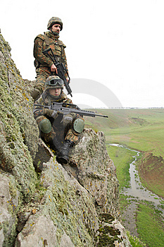 Two Soldiers On The Cliff Royalty Free Stock Photos - Image: 20786078