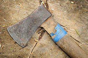 Old Ax On Tree Stump Royalty Free Stock Image - Image: 20798396