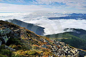 Early Morning Fog And Clouds In The Mountains Stock Photo - Image: 20800200