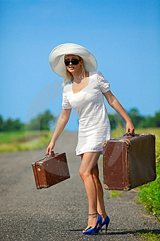 Womanl With Her Baggage Stock Photo - Image: 20800510