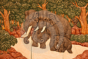 Native Thai Style Stone Engraving Royalty Free Stock Image - Image: 20801966