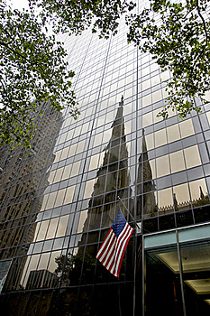 Olympic Tower And St. Patrick's Cathedral - NYC Royalty Free Stock Image - Image: 20804236