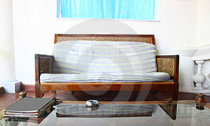 Old French Style Low Seat Furniture in Interiors Stock Image