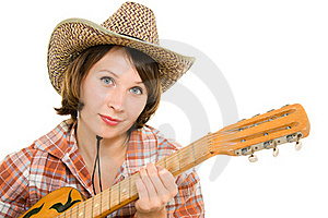 Cowboy Woman With A Guitar. Stock Photography - Image: 20815492