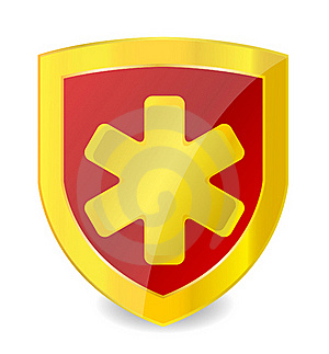 Gold Medical Symbol In Emblem Royalty Free Stock Photography - Image: 20819017